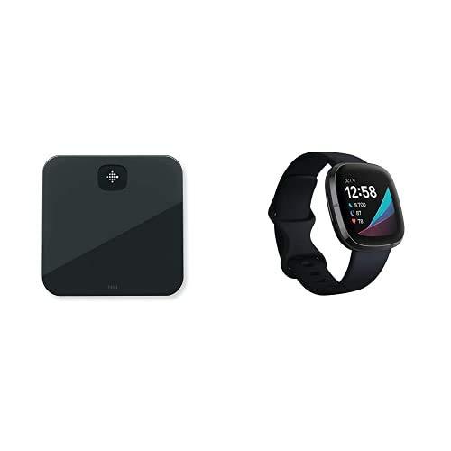 Fitbit Sense - Smartwatch avanzado de Salud con Herramientas avanzadas de la Salud del corazón + Fitbit Aria Air Scales Black, Unisex-Adult, One Size