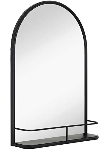 Hamilton Hills Rounded Top Metal Shelf Mirror Entryway Vanity Sink Holder Premium Glass Wall Mirror