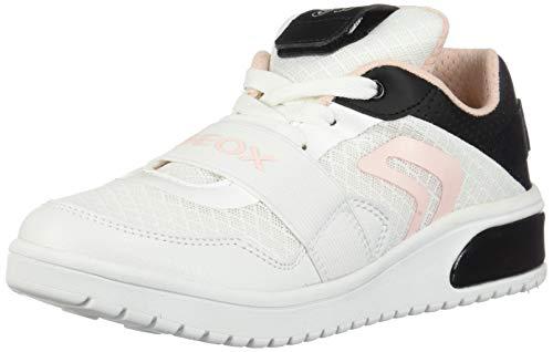 Geox XLED Girl J928DA Mädchen High-Top Sneaker,Kinder LED Licht Text,Schnürung,Sportschuh,Mid Cut Sneaker,White/Black,36