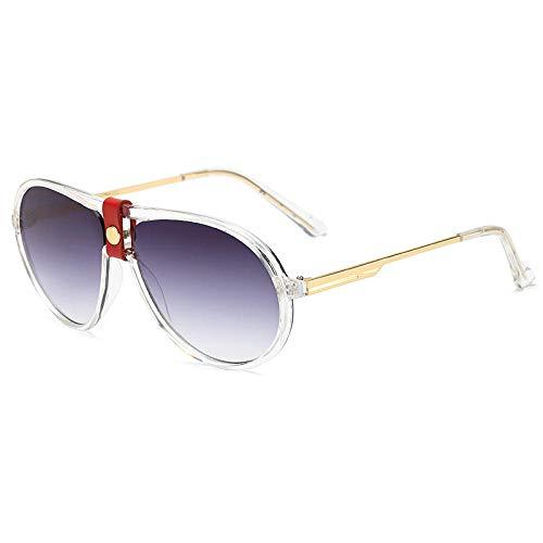 Gafas de sol ocean film moda hombres y mujeres personalidad gafas de sol sapo espejo-marco transparente doble hoja gris