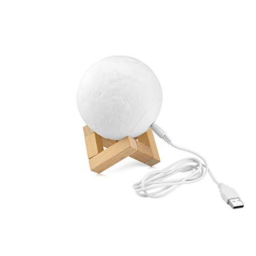 Creative Moon Touch Switch Bureaulamp, USB-oplaadbaar, voor kinderen, slaapkamer, ledlamp, 3D-print, nieuw nachtlampje