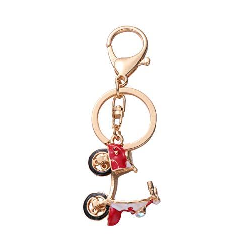 Amosfun Miniature scooter électrique porte-clés moto decration pendentif en métal strass porte-clés artisanat ornements pour clé de voiture sac décor (rouge)