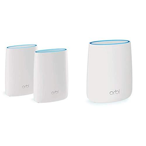NETGEAR Système WiFi Mesh Tri-Bandes Orbi (RBK50), AC3000, Pack de 2 & ORBI Satellite WiFi Mesh amplificateur RBS20 (1 Satellite Extender additionnel) – Jusqu'à 125m² de Couverture