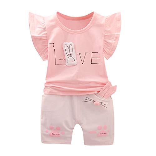 Xmiral Kinder Baby Mädchen Kurzarm Outfits Karikaturdruck T-Shirt + Kaninchenohren Shorts Baby Kind Hemd Hosen 2er Kleidung Set(Rosa,2-3 Jahre)