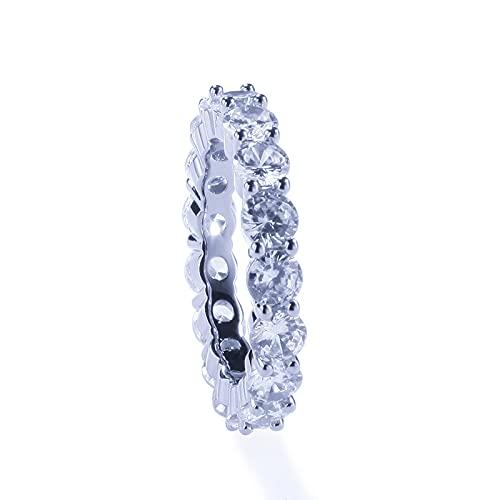 925 Banda de boda de plata esterlina CUBICA ZIRCONIA EEXERIDAD COMPLETA ANILLO APLICABLE TAMAÑO 5-9