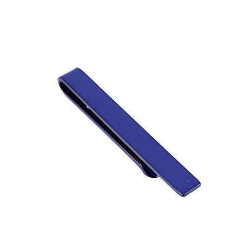 Clj Charles Le Jeune. Pince à cravate, Acier. Bleu, Uni.