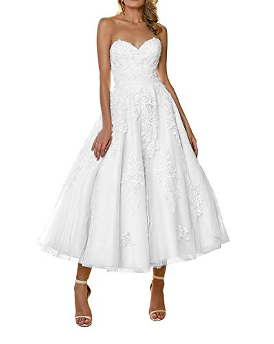 YASIOU Hochzeitskleid Damen Elegant Weiß Teelänge Schlicht Herzausschnitt A Linie Tüll Prinzessin Vintage Spitze Brautkleid Standesamt