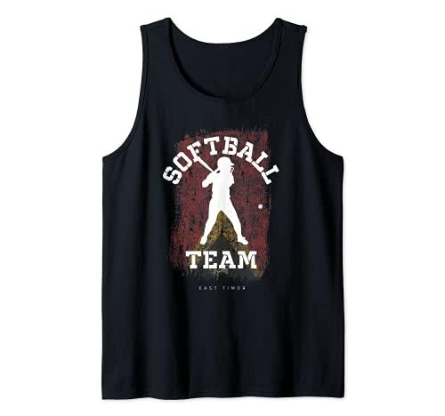 East Timor Softball Team Girls Baseball Mujeres Softball Camiseta sin Mangas