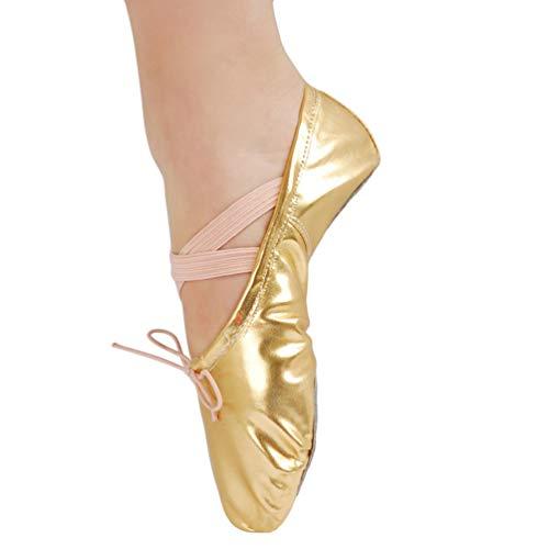 KasenA Scarpe Da Ballo Donna Mocassini Danza Classica Scarpe Per Balletto Ginnastica Yoga Oro 35 Eu