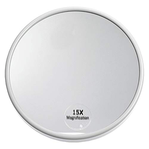 Kosmetex Saugnapf Spiegel mit 15-fach Vergrößerung, weiß, rund Ø 13 cm, Kosmetikspiegel