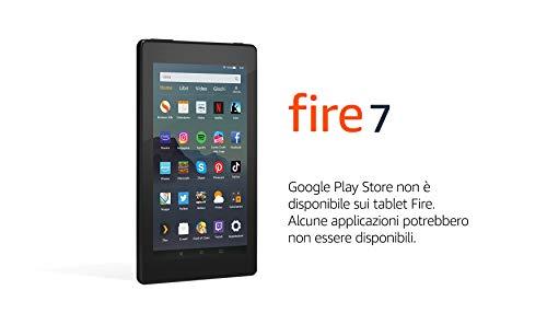 """Tablet Fire 7, Ricondizionato Certificato, schermo da 7"""", 32 GB, Nero, Con pubblicità"""