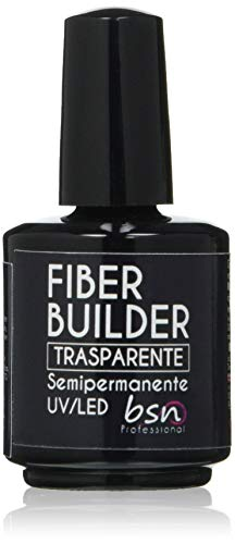 Beauty Space Nails FIBER BUILDER SOAK OFF Clear Base Soak Off Semipermanente con Fibre di Vetro Costruttore Modellante UV, Trasparente - 15 Ml