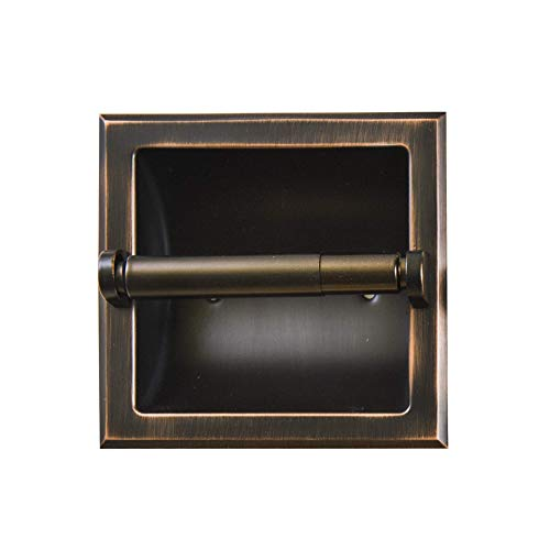 SENTO Classic Oil Bronze Recessed Standard Toilet Paper Holder Easy Installation in Wall Oil-Rubbed Bronze Wall Mounted Heavy Duty Metal Toilet Paper Roll Holder with Rear Mounting Bracket