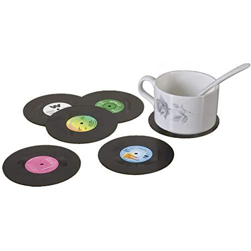 6 Stück Saucers Für Kaffeetassen in Der Form Von Retro-Vinyl-Schallplatten, Die Größe Einer CD