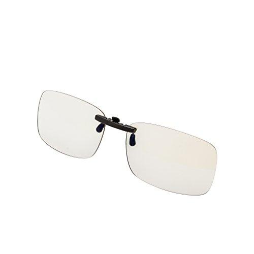 Anteojos de bloqueo de luz azul con clip para videojuegos, lentes con clip para la fatiga del ojo digital, alivio de ojos secos, protección de los ojos, sueño mejor y antirreflejos