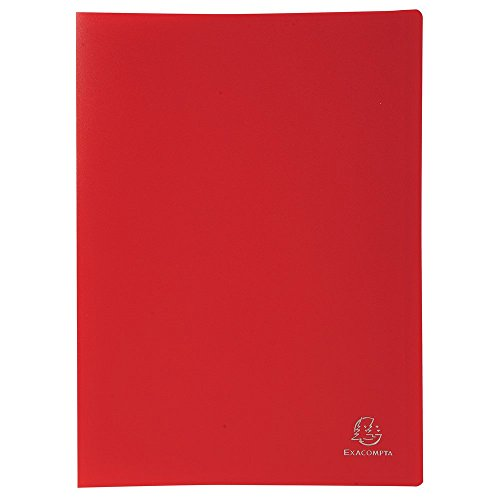 Exacompta 8555E - Carpeta de 50 fundas PVC, A4, color rojo