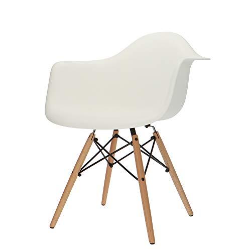 Popfurniture Designer Stuhl Weiß mit Armlehne | robust & leichter Aufbau | Ideale Esszimmerstühle, Stühle Esszimmer, Esstisch Chair, Küchenstühle, Essstühle, Esszimmerstuhl, Schalenstuhl, Stuhle