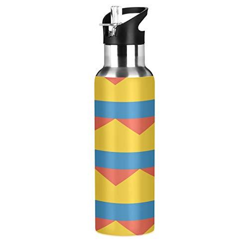 Botella de agua deportiva de acero inoxidable 304 con diseño de bandera de Colombia, botella de agua aislada al vacío con pajita (600 ml)