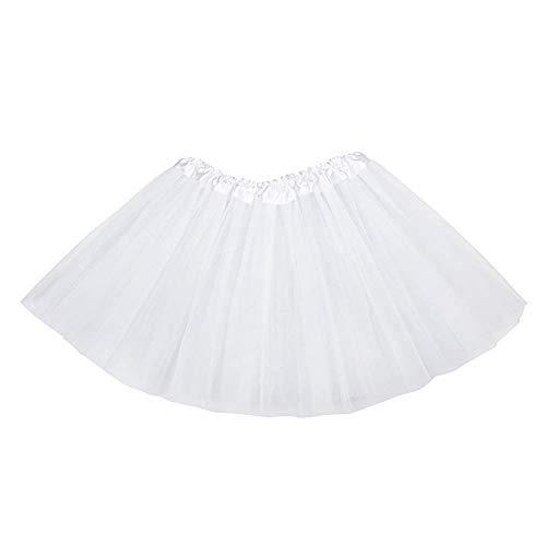 MUNDDY® - Tutu Elastico Tul 3 Capas 30 CM de Longitud para niña Bebe Distintas Colores Falda Disfraz Ballet (Blanco)