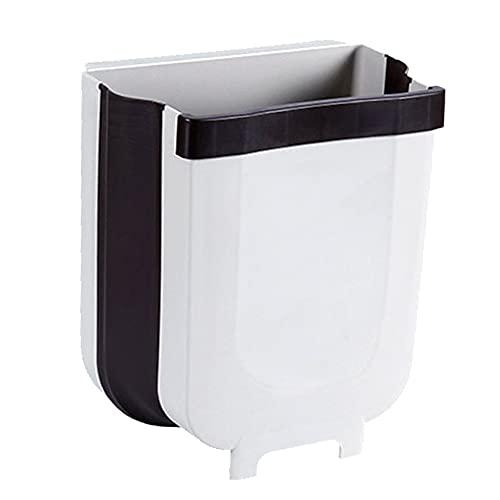 Misareally - Cubo de basura plegable de 9 l para cocina montado en la pared, cubo de basura plegable innovador para cocina, armario, puerta, camping (blanco)