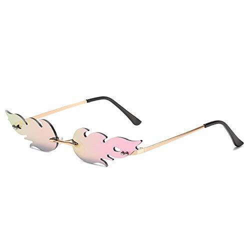 ZUXIANWANG Randlose Sonnenbrille, Fashion Trend Rosa Feuer Flamme Linsen, Haltbaren Metallrahmen, 100% Uv-Schutz Frauen Und Männer Gläser, Rahmenlose Brille Für Outdoor Fahren Angeln Golf Baseball