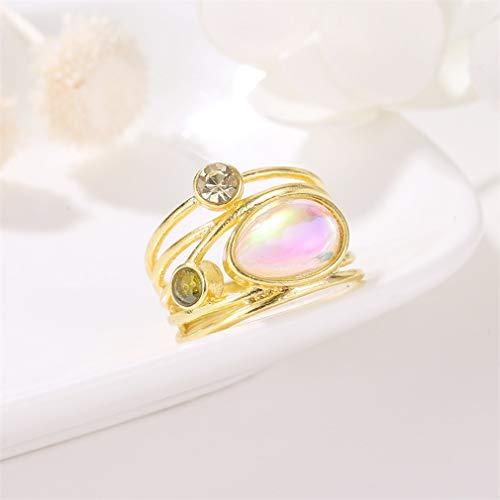 Mvude - Anillo de compromiso con perla para mujer, con perla de agua dulce, anillo de diamantes artificiales