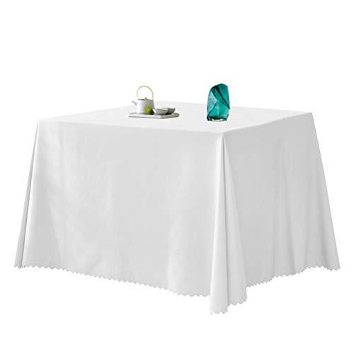N \ A THETHO Tovaglia 140 * 140 cm Tovaglia Rettangolare Tovaglia in Tessuto di Poliestere Tovaglia Decorativa per Ristorante Cucina Dinning Party (Bianco)