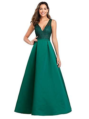 Ever-Pretty A-línea Vestido de Noche satén Cuello en V Escote Largo para Mujer 00839