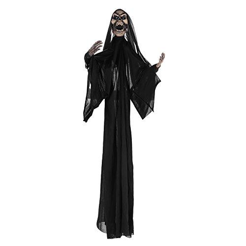 IBLUELOVER Halloween Deko Sklett Hängender Geist Sprachsteuerung Gespenst Ghost Requisit Horrorparty Bar Dekoration mit Umzug Arm Totenschädel Partydekoration für Karneval Fasching Aprilscherz