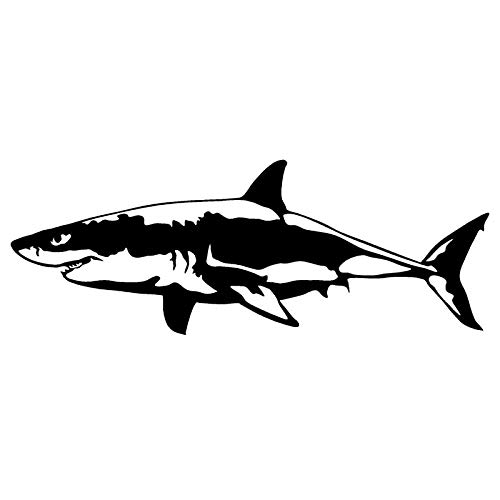 chenche 17.1 * 6.4CM Great White Shark Vinyl Decal Body Cover Scratch Animal Sticker Motorcycle Car Accessories-Black