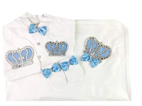 Conjunto de Mameluco de 3 Piezas para recién Nacidos con Corona y Joya para bebés recién Nacidos, 0-3 y 3-6 Meses