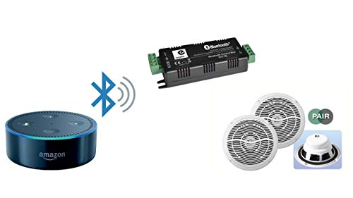 Amplificador 2 x 15W estéreo Bluetooth y Kit de Altavoces de Techo para Amazon Alexa Echo Dot