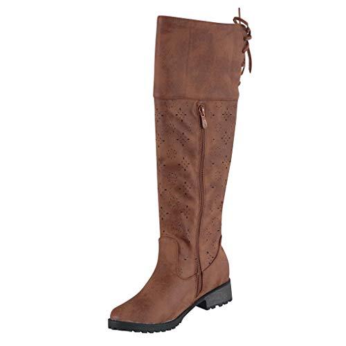 NINGSANJIN-Bonnets Bottine Femme Automne Mode Creux Dentelle Classics Knee Bottes Femmes Bottine Bloc Talon Boots