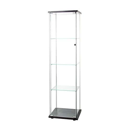 """Huimei2Y Glass Display Cabinet 4 Shelves with Door, Floor Standing Curio Bookshelf for Living Room Bedroom Office, 64"""" x 17""""x 14.5"""", Black"""