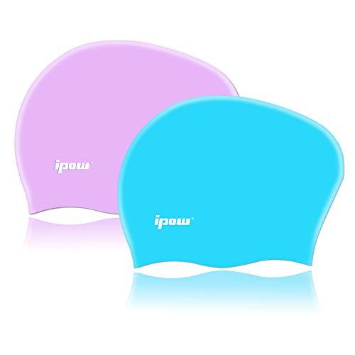 ipow 2-Stück Silikon Badekappe mädchen Bademütze Badehaube für Lange Haare gesund und warm Swim Cap (Himmelblau + Lila)