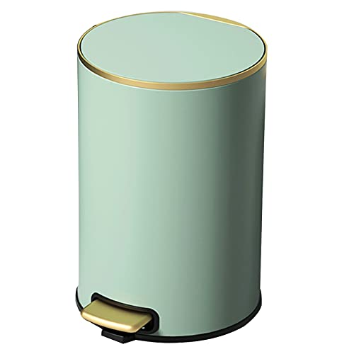 Round Cosmetic Bucket With Removable Inner Bucket Pedal Trash Can Gold Hygiene Bucket Bathroom Mute(Color:green,Size:9L)