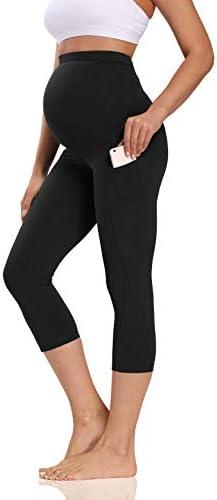 V VOCNI Maternity Yoga Capri Pants Over Bump Color Blocking Mesh Gym Cropped Pregnancy Leggings product image