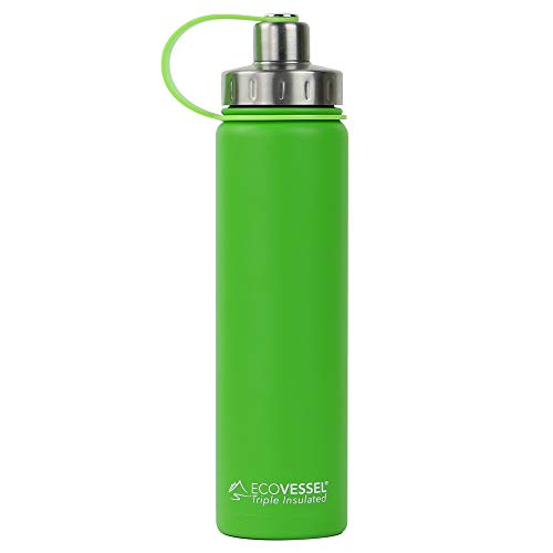 EcoVessel BOULDER TriMax Vacuum Insulated Stainless Steel Water Bottle with Versatile Stainless Steel Top and Tea, Fruit, Ice Strainer - 24 ounce - Mile High Green