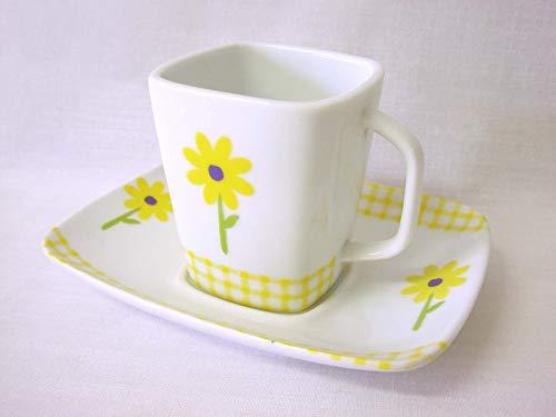 Taza Y Plato Recta Cuadrada Cafe 80 ML Porcelana Porcelana Margarita Amarillo Vichy Amarillo