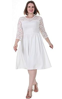 Sapphyra Women's Plus Round Neck 3 4 Sleeve Pleated Lace Midi Dress Size 1X-5X