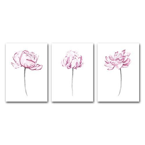 hdbklhjxk roze pioenroos canvas schilderij wandkunst aquarel bloemen print poster decoratie moderne muurschilderingen voor woonkamer decoratie 40x60cmx3 ongekaderd