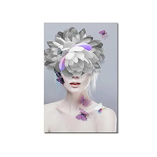 Arte de maquillaje abstracto nórdico Flor Cabeza de pelo Mujer Chica Modelo Arte corporal Pintura de la lona Póster de pared HD Impresiones Dormitorio Sala de estar Salón de belleza Decoraci
