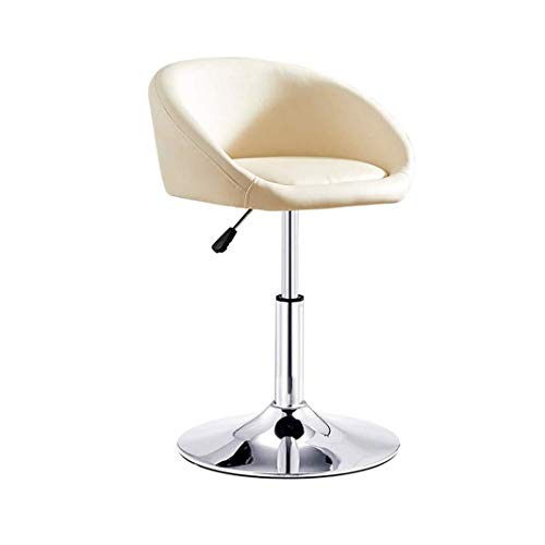 Metal Dining Chair Modern PU Leather Verstelbare Swivel Bar Stool, Chrome voetensteun en BASE Bar Stoelen ontbijt eten Kruk for Pub Counter, kookeiland En Thuis Barkruk White (Size : 40~53cm)