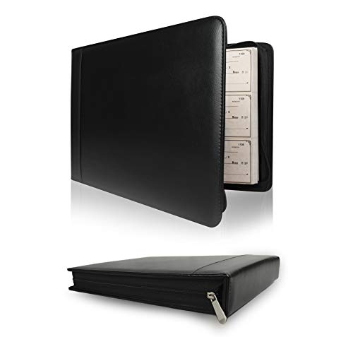 Skittz Premium PU Leather Business Check Binder 7 Ring 3 on a Page Checkbook Holder w/Zip Pouch (Black Premium Check Binder)