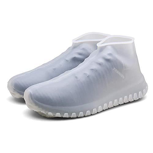Beststar FYXT-07 - Copriscarpe in silicone, impermeabili, riutilizzabili, protezione per scarpe da interni ed esterni, 1 paio (2 pezzi), bianco, L