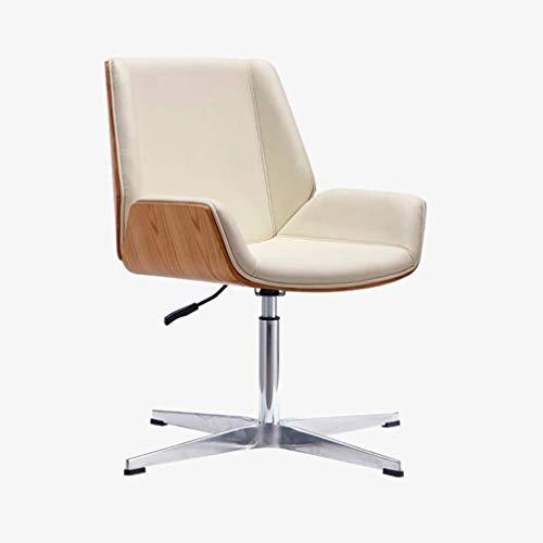 JIAJULL Büro-Schreibtisch-Stuhl, Lederpolsterung, Einstellbare Höhe Armless Stuhl, Mid Zurück Chefsessel, Edelstahl Beine, Mid Century Modern (Farbe : Beige)