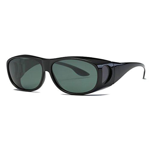 AEVOGUE Polarized Sunglasses Mens Over-The-Glass Prescription Safety Glasses AE0509 (Black&Green, 65)