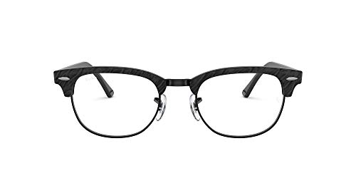Ray-Ban Rx5154 CLUBMASTER-0RX51548049, Wrinkled Black On Black, 49 Unisex Adulto