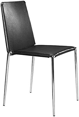 Amazon.com - Santos Genuine Leather Dining Chair - Black - Chairs