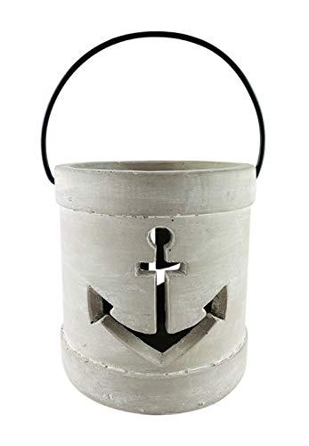 PARTS4LIVING Beton Laterne Anker Windlicht mit Metallhenkel Kerzenständer rustikal und maritim grau 17x18,5 cm